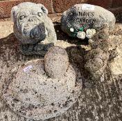 Four small concrete garden ornaments - dog, nan's garden,