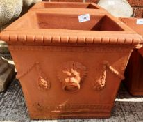 A pair of Red Bank square terracotta planters each 25 x 25 x 24cm deep