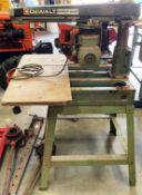 A DeWalt Power Shop DW125 radial arm saw - 240v (failed PAT test - loose earth - check before