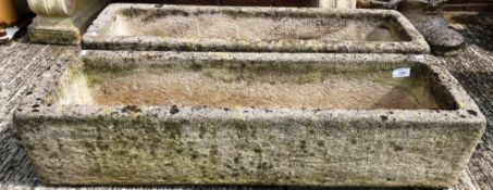 A pair of Sandford Stone composition and concrete planters each 86 x 26 x 15cm deep