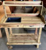 A pine singe drawer mobile potting bench with under tray and top rack 93 x 44 x 82cm (top of table)