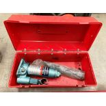 A Halfords two ton hydraulic jack in case