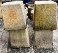 Four Sandford Stone composition stands each 16 x 16 x 24cm high