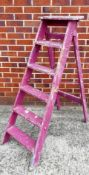 A Pioneer ladder pink painted five step wooden step ladder
