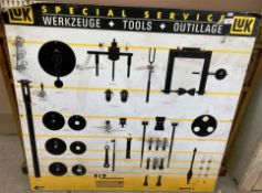 A Luk Special Service metal tool wall board 100 x 106cm