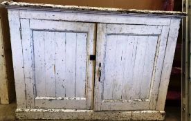 A white painted pine two door wall unit base 136 x 54 x 95cm high