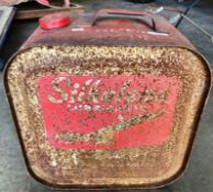A Silkolene Lubricants vintage red metal portable fuel can 36 x 23 x 36cm high