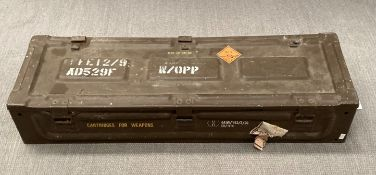 A brown metal ammunition box 86cm x 27cm x 17cm deep
