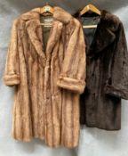 A Matthias Robinson lady's light brown long fur coat,