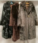 Two ladies Furnyl long simulated fur coats and another (no label, lining torn),