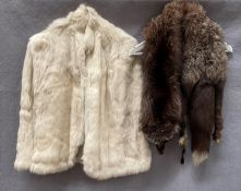 A lady's short fur cape and a fox stole (2) Further Information This is a cape not a