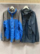 A Regatta Isotex 5000 outdoor coat in blue and grey, size 2XL and a Regatta dark blue thin coat,