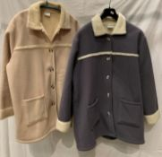 Two ladies fleece jackets (grey and camel), with faux fur lining, sizes 20/22,