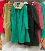 A selection of six ladies various coloured coats