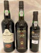 Three bottles of Port - a 75cl bottle W&J Grahams 1996 late bottled vintage port (20% vol),
