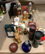 Contents to half of tray 28 novelty miniature liqueur and spirits - Orlando Cherry Brandy in a