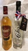 A 70cl bottle of Chase English Potato Vodka (40% volume) and a 70cl bottle of Grant's The Family