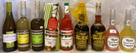 Eight various bottles of liqueurs - Royal Liqueur (cherry chocolate and lemon chocolate),