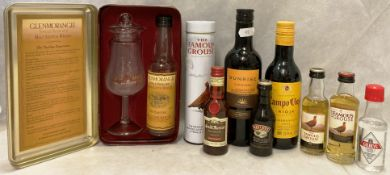 A Glenmorangie presentation tin containing a glass and an empty bottle of Glenmorangie,