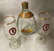 Two Watney Mann 1966 World Cup Willie glasses and an empty John Haig & Co Scotch Whisky dimple