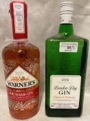 A 70cl bottle of Warner's Rhubarb Gin (40% volume) and a 1 litre bottle of M&S London Dry Gin (37.