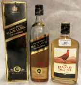 A 35cl bottle of The famous Grouse blended Scotch Whisky (40% vol) and a part bottle of Johnnie