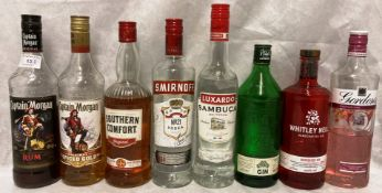 Eight part bottles spirits and liqueurs (1/4 to 3/4 full) - Gordons Gin, Captain Morgan Rum,