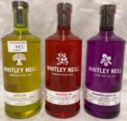 Three 70cl bottles of Whitley Neil hand crafted gin (each 43% vol) - Rhubarb and Ginger,