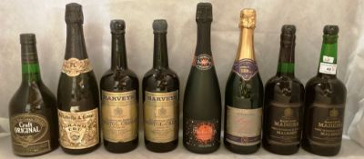 Eight various bottles of Sherry,