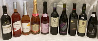 Ten various bottles of red and rose wine (including sparkling) including Lindeman's Cawarra Shiraz