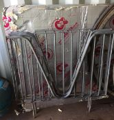 Three galvanised security/cattle fence sections/gates each 105 x 100cm tall (one missing centre