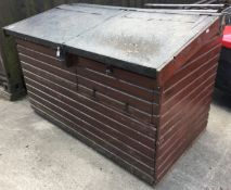 Large wooden storage box/shed with felt covered two section sloping lift top 176 x 106 x 112cm max