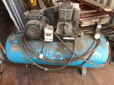 A Thorite (Thomas Wright Group) 240v compressor with blue welded air receiver, cap.