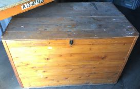 Large wooden storage box with lift top 122 x 83 x 83cm high