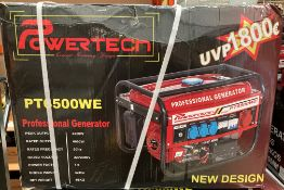 POWER TECH PT6500WE portable professional generator - rated out put 6000w, gross weight 42kg,