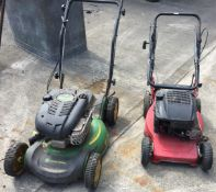 Two petrol rotary mowers - John Deere JS63 3 speed and an MTD - each no collection box and both