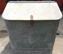 Large galvanised corn bin - sloping top - internally two section 85 x 55 x 81cm max high