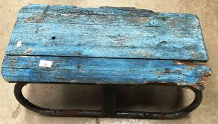 Contents to under part of rack - vintage sledge, basket, coal purdonium (as seen),