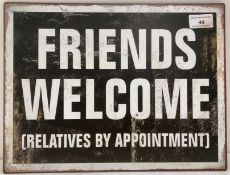 Eight hardboard letters spelling Life (x2), small metal Friends Welcome sign,