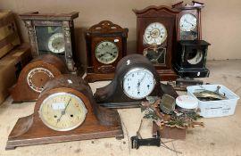 Nine various clocks and clock faces, all as seen - mantel, cuckoo etc.