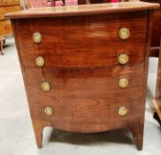 A mahogany bow fronted commode converted to a drinks cabinet 61cm x 70cm high