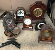 Six various clocks and clock cases - mantel, cuckoo,