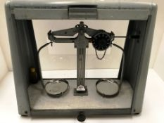 A set of Griffin metal balance scales in grey metal glazed shaped case - case size 45cm x 19cm x