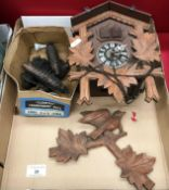 Contents to tray wooden cuckoo clock - as viewed
