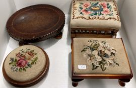 An oval stool with brown leather top on bun feet and three other stools with tapestry tops (4)