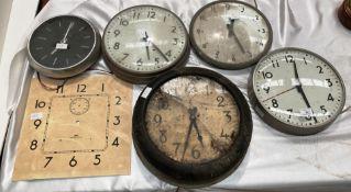 An International Time Recorder circular electric wall clock (damaged face),