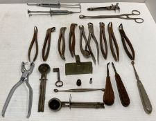 Contents to blue plastic tray a quantity of vintage dental equipment