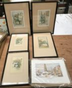 Four various sized framed prints by F.