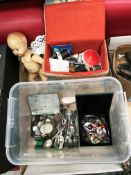 Contents to tray a Roddy R10 plastic baby boy doll, quantity of plated souvenir teaspoons,