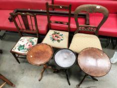 Three mahogany wine tables, two bedroom chairs,